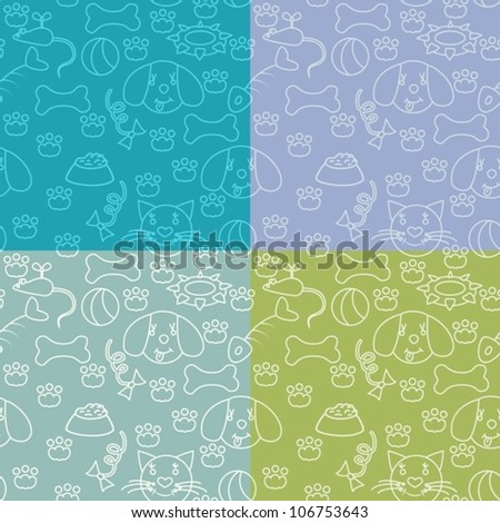 Four seamless baby background with cats and dogs