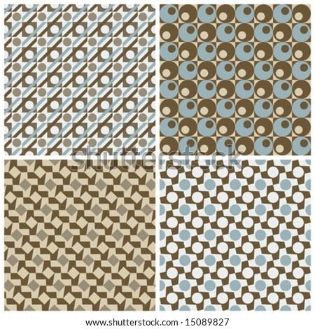 "Four seamless geometric retro patterns. 6"" repeat size."