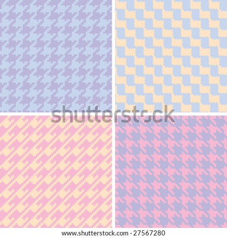Four seamless houndstooth patterns in pastel colors.