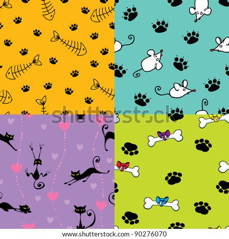 Four seamless pattern with cats and dog themes