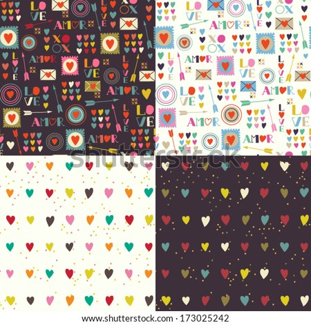 Four seamless patterns of Valentines day with colorful hearts and letters Valentines hearts Kids elements for scrap booking Childish background Hand drawn vector illustration