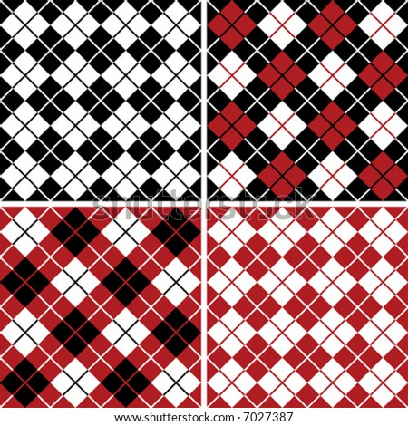 """Four seamless 6"""" repeating vector argyle patterns in black, red and white."""