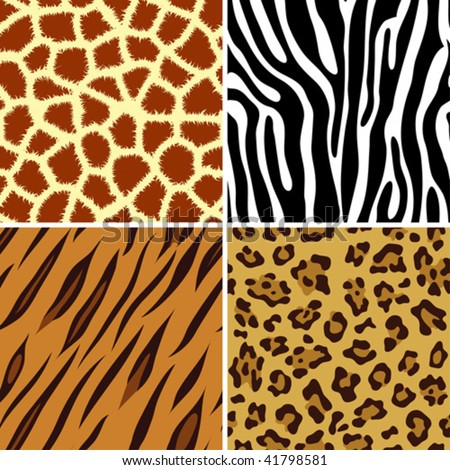 Four seamless tiling animal print giraffe, zebra, tiger and leopard, vector illustration