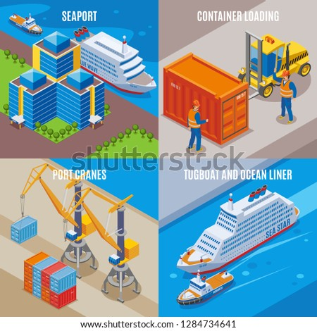 four seaport isometric icon set
