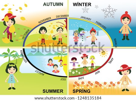 four season. Seasonal Chart of the Year. seasons in set. autumn. winter. summer. spring. 12 months. 4 seasons. Illustration of seasons for nursery. months for elementary school.