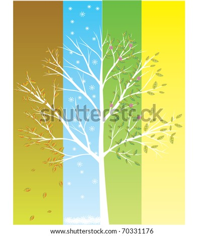 four season tree in one vector eps8