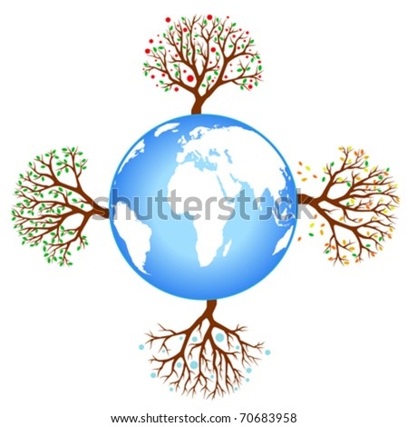 four season tree with earth