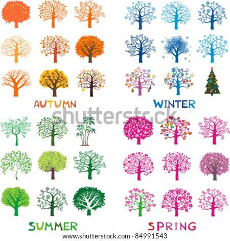 four season trees  vector