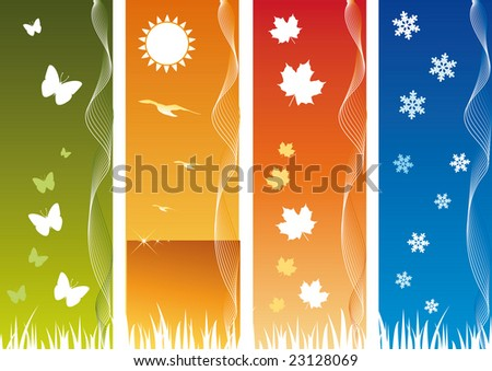 Four Seasonal Backgrounds. All elements are on separate layers and can be easily edited.