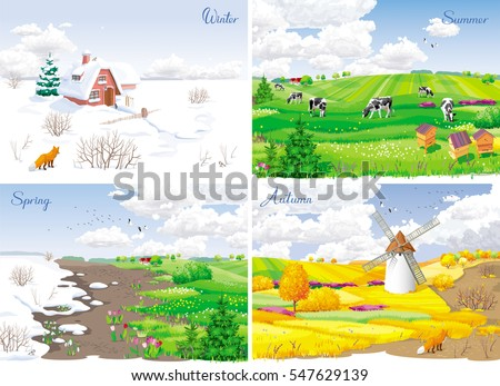 four seasonal rural landscapes