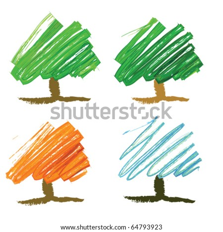 Four seasonal tree drawing
