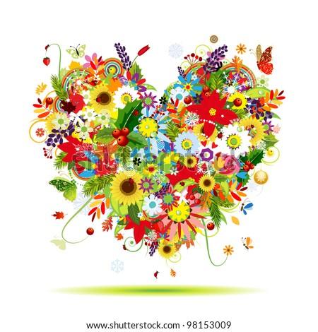 four seasons art heart shape