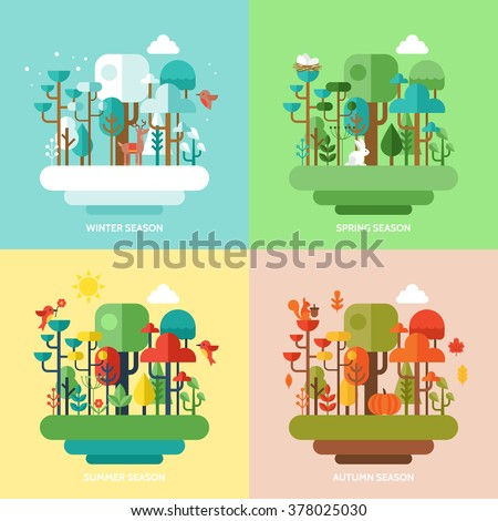 Four seasons concept with nature forest, trees and animals. Vector illustration