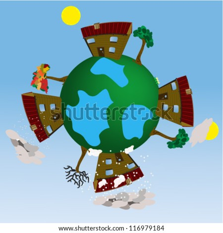 Four seasons earth globe illustration/Four season earth globe/Illustration