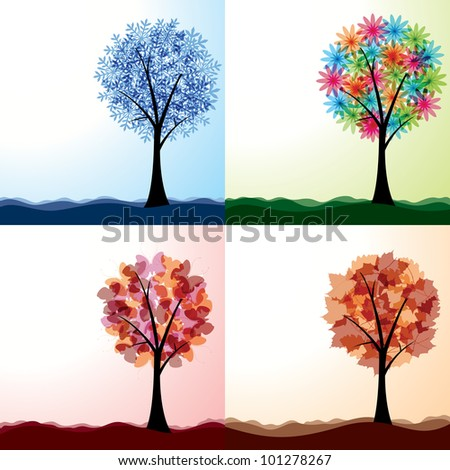 Four seasons.  8 eps. - stock vector