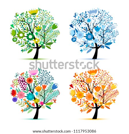 Four seasons, floral colorful tree. Sketch for your design