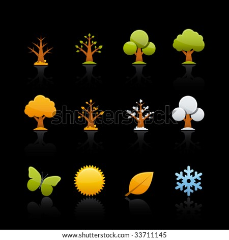Four Seasons Icon Set for multiple applications. In Adobe Illustrator EPS 8. - stock vector