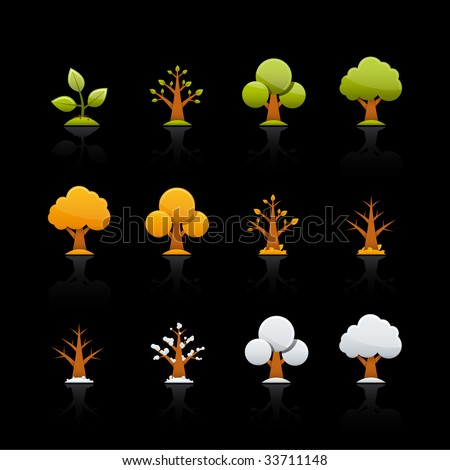 Four Seasons Icon Set for multiple applications. In Adobe Illustrator EPS 8.