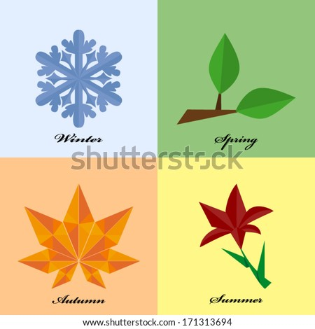 Four seasons icon symbol in origami style