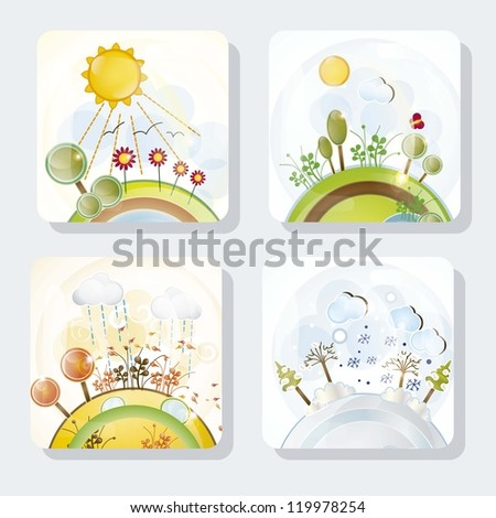 Four seasons Icons with beautiful Landscapes, set - stock vector
