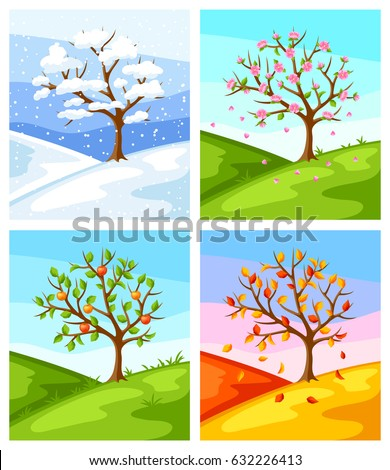 stock-vector-four-seasons-illustration-of-tree-and-landscape-in-winter-spring-summer-autumn