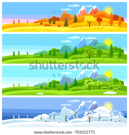 stock-vector-four-seasons-landscape-banners-with-trees-mountains-and-hills-in-winter-spring-summer-autumn