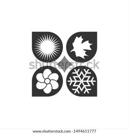 Four Seasons Logo. Seasons Symbol. Icon Vector Eps 10.
