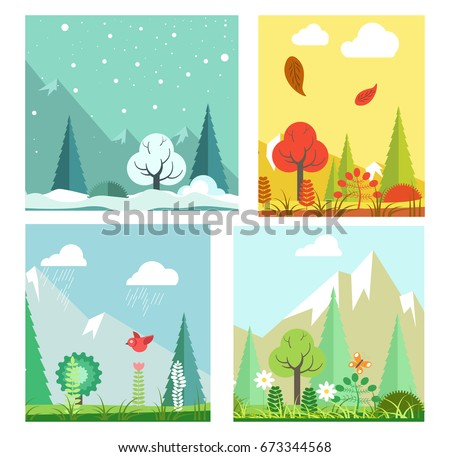 four seasons nature landscape