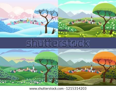 four seasons of village view