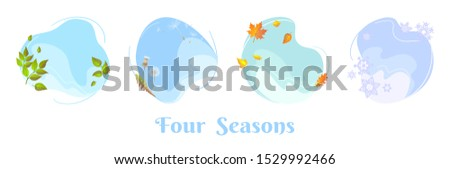 Four seasons sky round concepts. Spring foliage, summer dandelion blowball, autumn fall leaf, winter snowflakes. Flat design template for seasonal sale banner, calendar, poster. Isolated circle frames