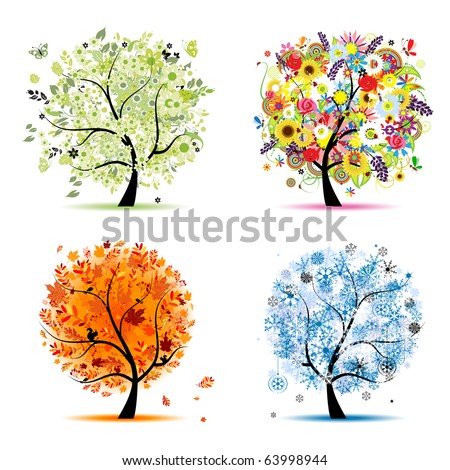 Paintings Images on Four Seasons   Spring  Summer  Autumn  Winter  Art Tree Beautiful For