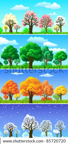 Four seasons (summer, autumn, spring, winter) trees and landscape banners. Green, blossoming, fall and snowing backgrounds set.  Realistic composition with sky and clouds, bunch and grass