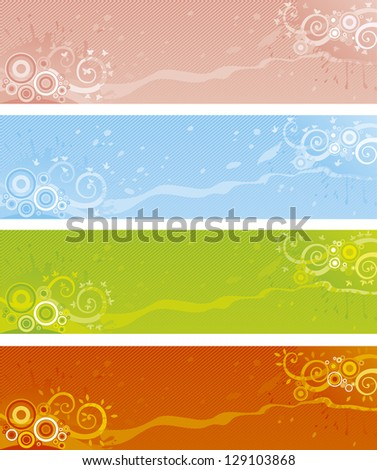 Four seasons - summer, winter, soring and autumn. Vector abstract banners for web design