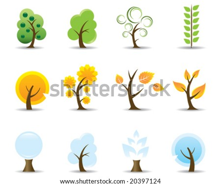 Four Seasons Tree Icons