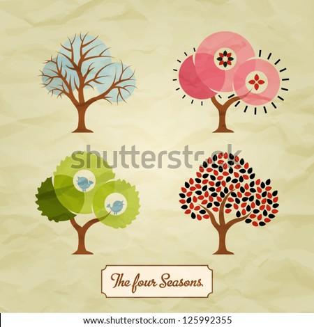Four Seasons Trees Background Illustration
