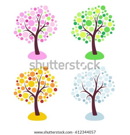 four seasons trees stylized