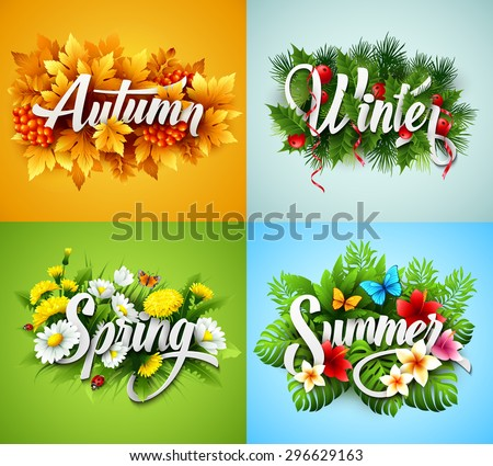 Four Seasons  Typographic Banner. Vector illustration EPS 10