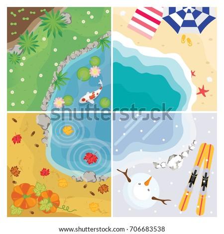 four seasons vector with pond, beach and garden
