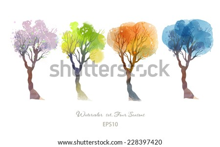 four seasonswatercolor vector