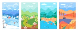 Four seasons, winter, spring, summer, autumn colour nature vector illustration set
