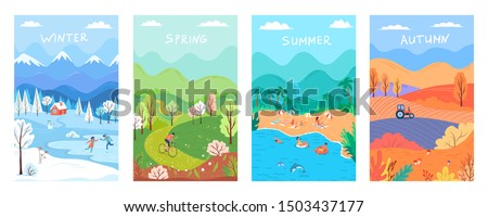 Four seasons, winter, spring, summer, autumn colour nature vector illustration set Foto d'archivio ©