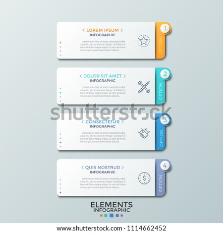 Four separate paper white rectangular elements with headings, thin line pictograms and text boxes placed one below other. Infographic design template. Vector illustration for presentation, website.