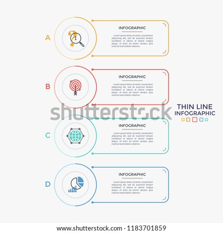 Four separate rectangular elements with linear symbols and place for text arranged in vertical row. List of 4 business features to choose. Minimal infographic design layout. Vector illustration.