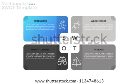 Four separate rectangular elements with thin line icons and place for text inside. Concept of SWOT analysis. Advantages and disadvantages of project. Infographic design template. Vector illustration.