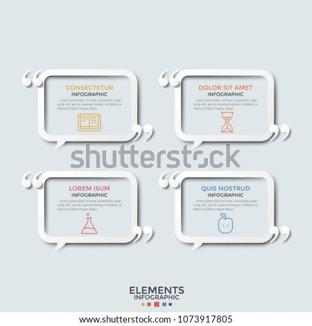 Four separate rectangular speech bubbles or balloons with linear symbols, place for text inside and quotation marks. Concept of 4 expressions. Modern infographic design template. Vector illustration.