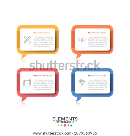 Four separate rectangular speech bubbles or balloons with thin line pictograms and place for text inside. Concept of 4 quotes or phrases. Creative infographic design template. Vector illustration.