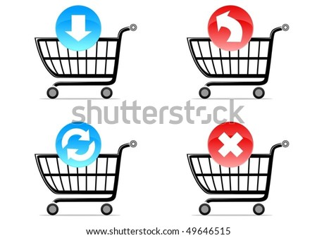 four shoping cart symbols with icons