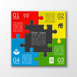 Four sided 3d puzzle presentation. Abstract puzzle infographic template with explanatory text field for business statistics. Vector four pieces puzzles illustration