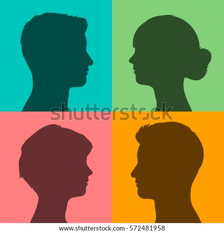 Four silhouettes of male and female heads in profile on different brightly colored backgrounds, vector illustration for avatars or internet
