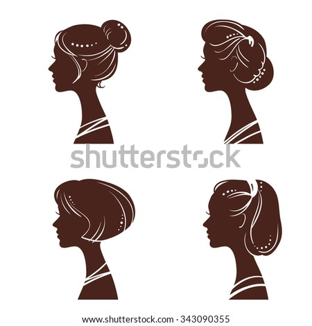 four silhouettes of women's